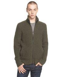 Rag & Bone - Green 'rhys' Full Zip Merino Wool Blend Sweater for Men - Lyst