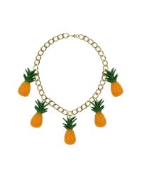 TOPSHOP | Multicolor Chunky Chain Pineapple Necklace | Lyst