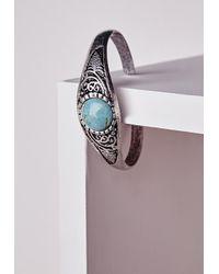 Missguided | Blue Semi Precious Stone Bangle | Lyst