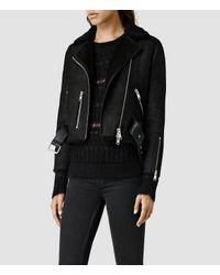 AllSaints | Black Merino Lands Biker Jacket | Lyst