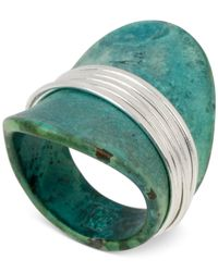 Robert Lee Morris - Green Silver-Tone Wire-Wrapped Sculptural Patina Ring - Lyst