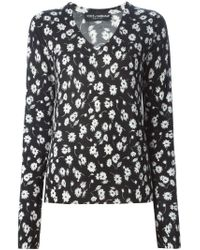 Dolce & Gabbana - Black Floral Print Sweater - Lyst