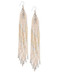 Lucky Brand | Metallic Gold-tone Linear Beaded Earrings | Lyst