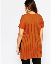Asos Curve | Brown T-shirt With Split Sides In Sheer Stripe | Lyst