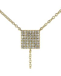 Anne Sisteron | Metallic 14kt Yellow Gold Diamond Square Lariat Necklace | Lyst