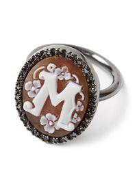Amedeo | Metallic M Black Diamond Ring | Lyst