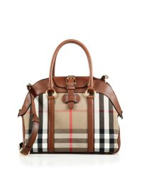Burberry - Brown Milverton Checked Twill & Leather Satchel - Lyst