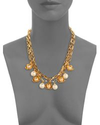Tory Burch | White Golden Cara Short Flower Necklace | Lyst
