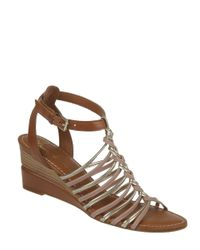 Franco Sarto | Brown Everly Leather Wedge Sandals | Lyst