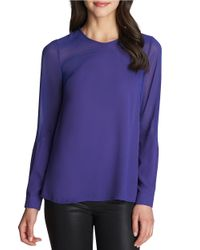 1.STATE | Blue Pintuck Illusion Blouse | Lyst