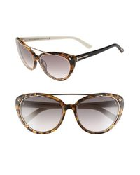 Tom Ford - Gray 'edita' 58mm Cat Eye Sunglasses - Havana/ Gradient Smoke - Lyst
