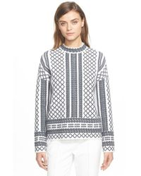 Tory Burch | Gray Merino Jacquard Sweater | Lyst