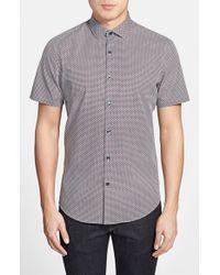 Calibrate | Blue Trim Fit Short Sleeve Geo Print Sport Shirt for Men | Lyst