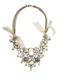 Lydell NYC - Multicolor Rhinestone & Pearly Bib Necklace - Lyst