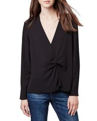 TOPSHOP | Black Twist Front Blouse | Lyst