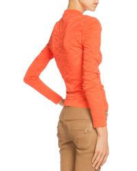 Balmain - Orange Tiger-striped Mock Turtleneck Sweater - Lyst