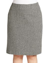 Lord & Taylor White Plus Tweed Pencil Skirt