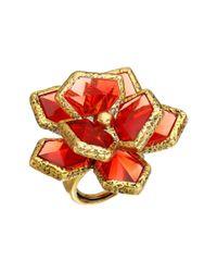 Oscar de la Renta - Red Wild Flower Ring - Lyst