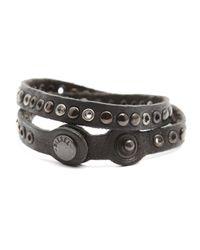 DIESEL | Avaci Black Studded Bracelet for Men | Lyst