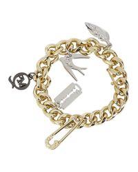 McQ | Metallic Gold Tone Charm Bracelet | Lyst