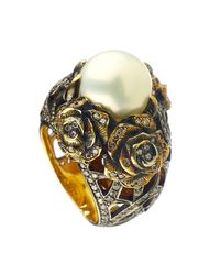 Queensbee - Metallic Pearl And Roses Ring White - Lyst