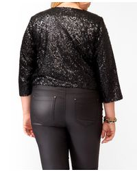 Forever 21 - Black Plus Size Cropped Sequined Jacket - Lyst