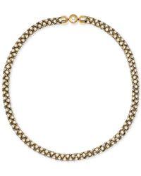Michael Kors | Metallic Mesh Crystal Necklace | Lyst