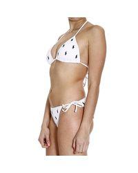 Ralph Lauren Blue Label - White Swimwear Bikini Triangle Multipony - Lyst