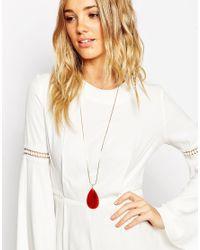ASOS | Metallic Agate Long Pendant Necklace | Lyst