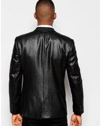 ASOS - Black Slim Blazer In Mock Snakeskin Design for Men - Lyst