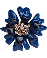 Oscar de la Renta - Blue Enamel Carnation Ring - Lyst