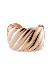 David Yurman | Metallic Sculpted Cable Wide Cuff in Rose Gold | Lyst