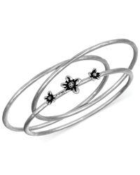 The Sak - Metallic Silver-tone Flower Bangle Bracelet Set - Lyst