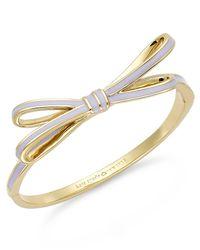 kate spade new york | Purple Gold-Tone Lilac Enamel Bow Bangle Bracelet | Lyst