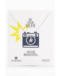 Dogeared | Metallic 'Reminder - Be Your Selfie' Hashtag Pendant Necklace | Lyst