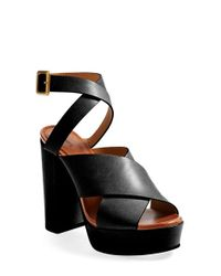 Chloé - Brown Platform Leather Sandals  - Lyst