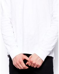 ASOS - White Long Sleeve Polo Shirt In Textured Fabric for Men - Lyst