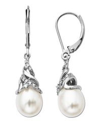 Lord & Taylor | Freshwater Pearl And Diamond Drop Earrings In 14 Kt. White Gold 8mm X 10mm | Lyst
