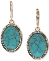 Anne Klein | Blue Gold-tone Large Stone And Crystal Drop Earrings | Lyst