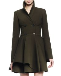 Alexander McQueen - Green Asymmetric Fit-and-flare Coat - Lyst