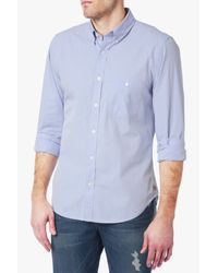 7 For All Mankind | Long Sleeve Oxford Shirt In Sky Blue for Men | Lyst