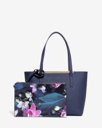 Ted Baker | Blue Crosshatch Leather Shopper Bag | Lyst
