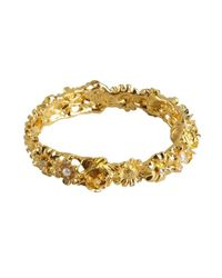 Kenneth Jay Lane - Metallic Gold And Crystal Flower Snap Bracelet - Lyst