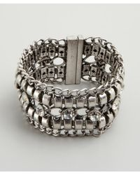 R.j. Graziano - Metallic Silver Chain and Crystal Magnetic Closure Cuff - Lyst