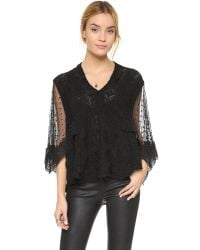 Free People | Black Hard Candy Blouse - Ecru | Lyst