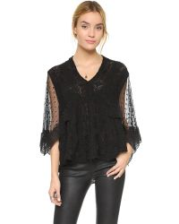Free People - Black Hard Candy Blouse - Ecru - Lyst