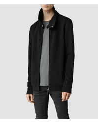 AllSaints - Black Mevens Funnel Neck Sweatshirt for Men - Lyst