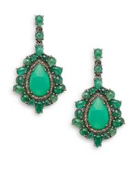 Bavna | Green Emerald, Chrysoprase, Champagne Diamond & Sterling Silver Teardrop Earrings | Lyst