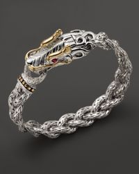 John Hardy | Metallic Sterling Silver And 18k Bonded Gold Dragon Head Braided Chain Bracelet With Ruby Eyes | Lyst