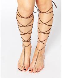 ASOS - Brown Pack Of 2 Knee High Suede Look Tassel Anklets - Lyst